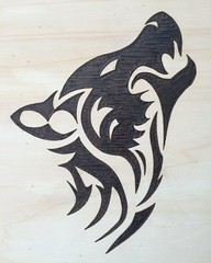 Shout in the dark (pyrography 300x300 mm)