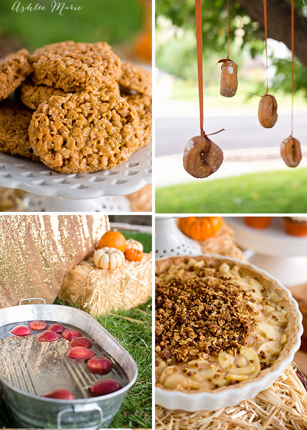stagger the height of donuts on ribbon for each of your children so they each have a sweet treat and of course bobbing for apples is always a favorite! Add an apple pie tart with a crumble top and pumpkin rice krispies and you have an amazing party