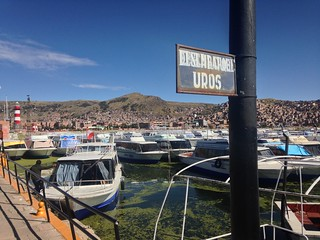 The ferry dock for the Uros Islands.