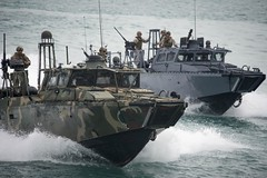 Riverine Command Boats participate in a bi-lateral exercise with Kuwait naval forces in the Arabian Gulf.