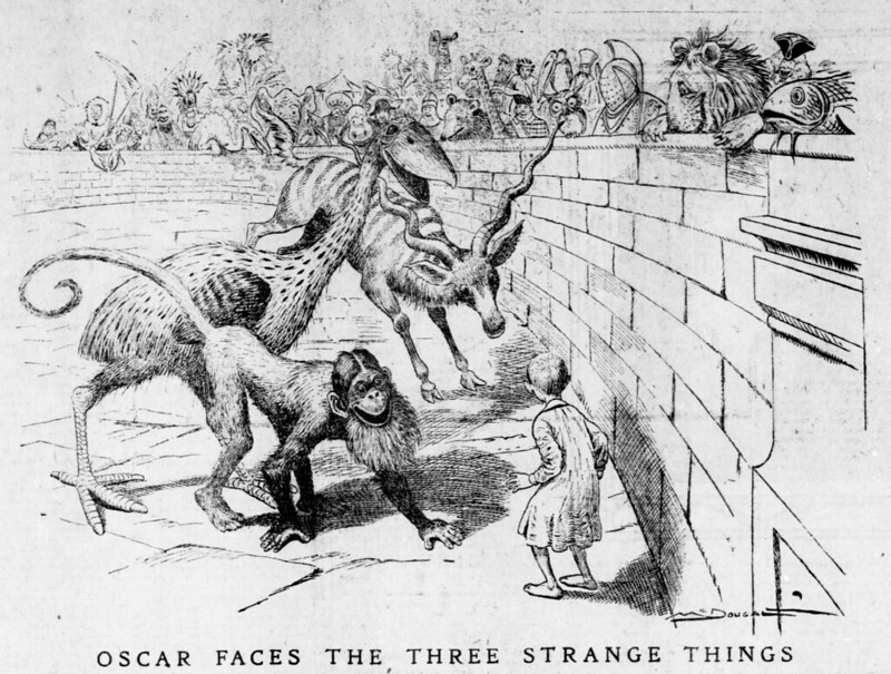 Walt McDougall - The Salt Lake herald., January 31, 1904, Oscar Faces The Three Strange Things