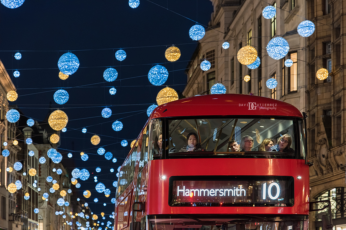 """Festive Commute"" Christmas Lights Regent Street, London, UK by David Gutierrez Photography, London Photographer"