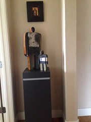 Black Laminate Pedestal with People Statues
