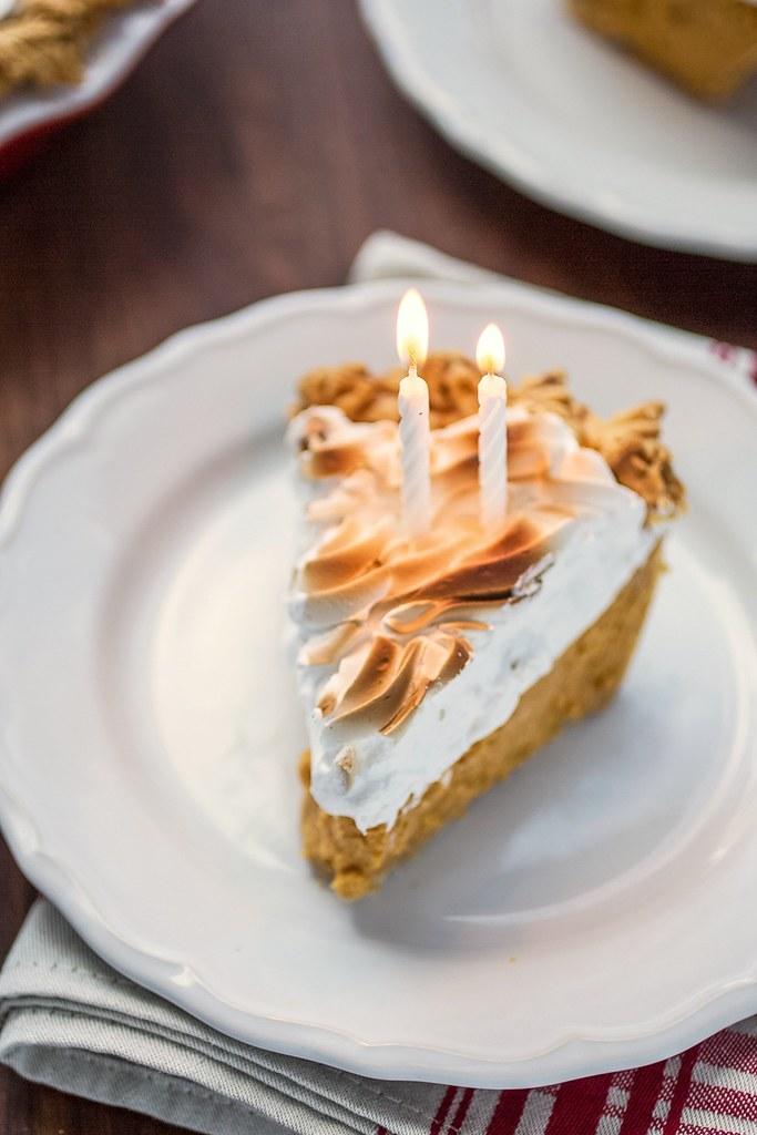 candles in sweet potato pie slice