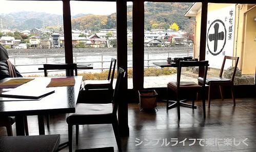 平等院昼食、店内からの宇治川