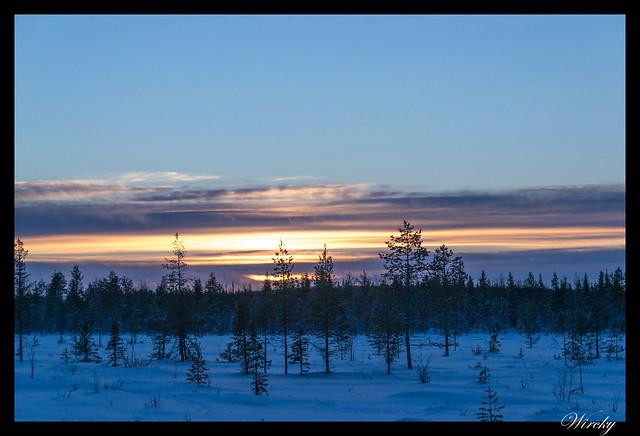 Laponia Tankavaara aurora boreal - Sol en el Círculo Polar Ártico