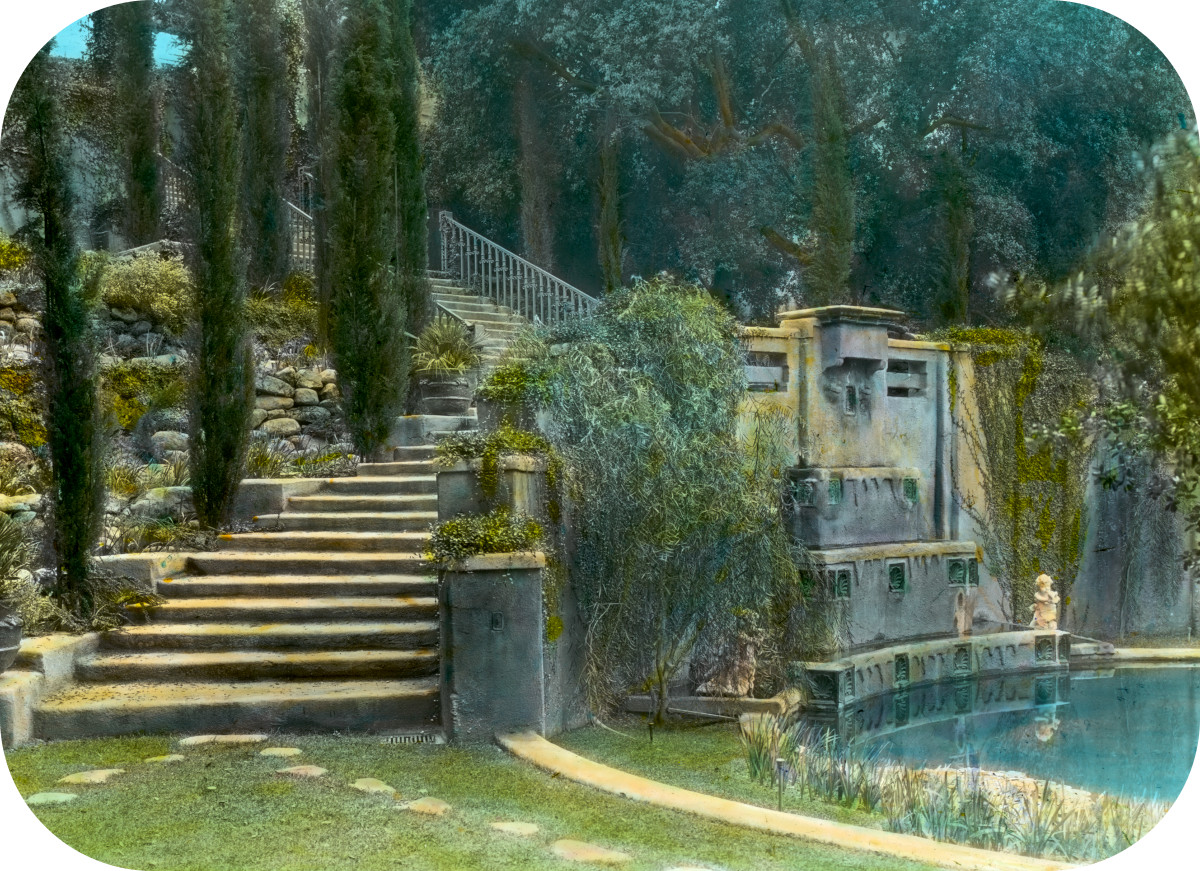 'Il Paradiso,' Mrs. Dudley Peter Allen house, 1188 Hillcrest Avenue, Oak Knoll, Pasadena, California. Lower garden stairs