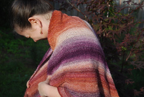 Wearing Diminishing Returns triangle shawl in handspun yarn by irieknit