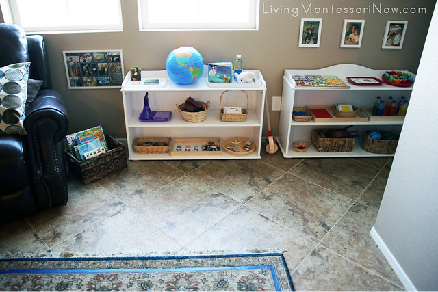 Montessori Toddler Shelves in Living Room