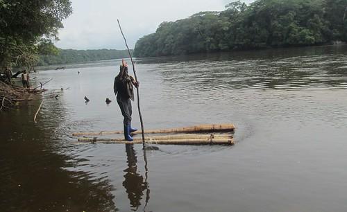 Omo demonstrates crossing on makeshift raft copy