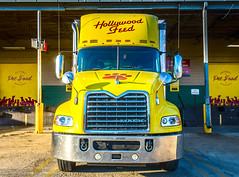 Hollywood Feed Mack Pinnacle parked at the loading dock in Memphis Tennessee