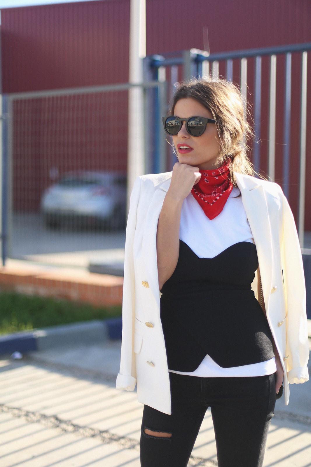 9. jessie chanes - white blazer gold studs booties