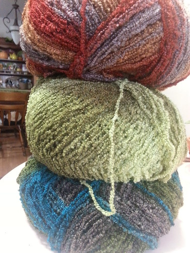 boucle yarn for mossy blanket
