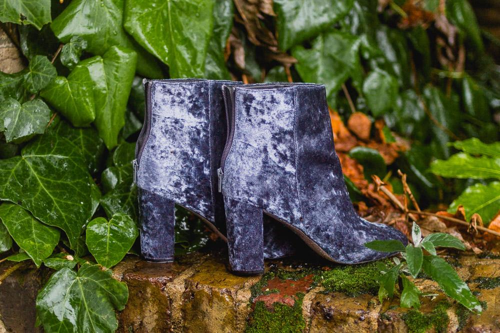 blue velvet heeled ankle boots asos