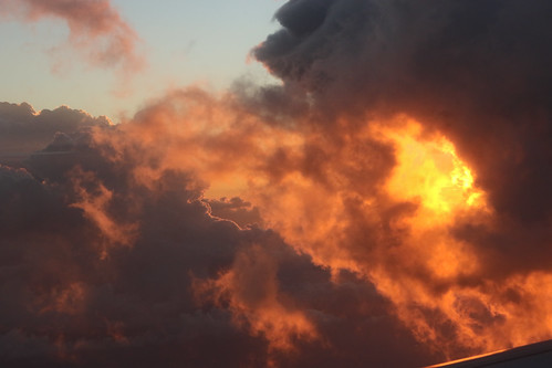 sunset clouds airplane fire photography aerial