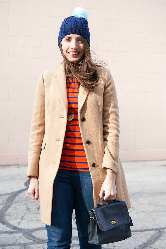 Target red and navy stripe tee, J.Crew Factory coat, Loft jeans; Style On Target blog