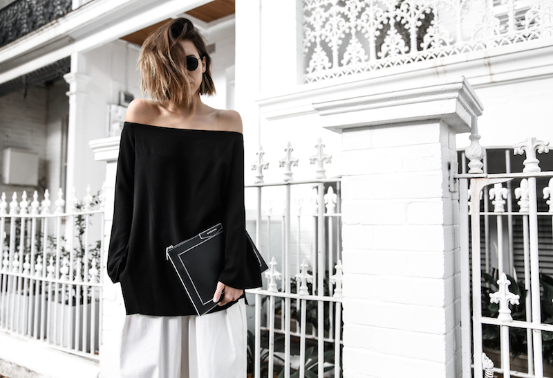 off shoulder top Ellery Queenie monochrome street style inspo black white Bassike pants ATP Rosa sandals Givenchy clutch resort off duty (4 of 11)