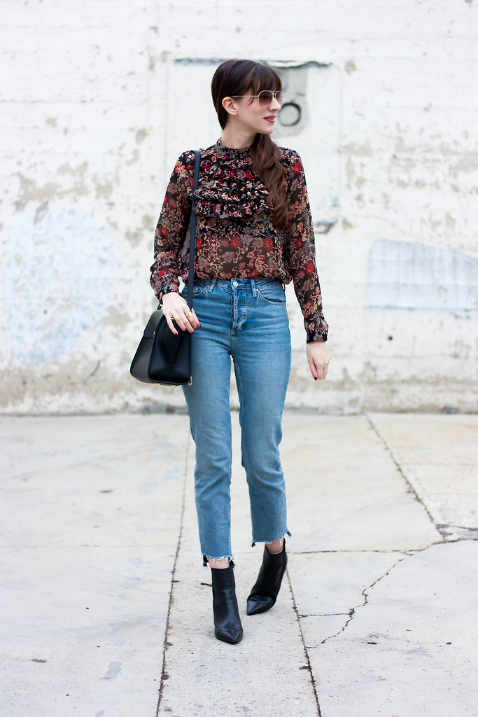 Cool Mom Jeans, Fall Floral Blouse