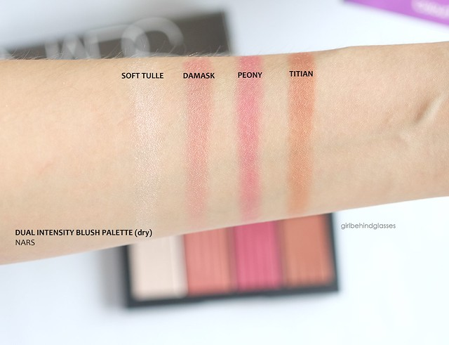 NARS Dual Intensity Blush Palette dry swatches