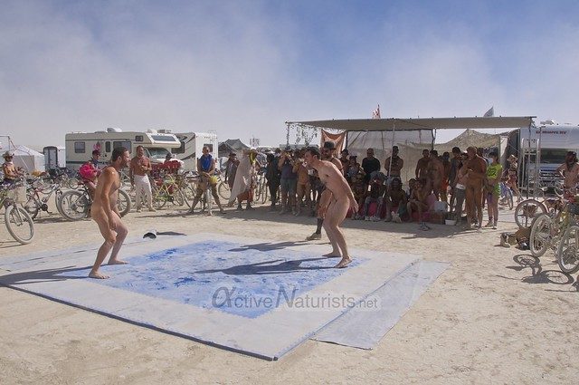 naturist wrestling camp Gymnasium 0010 Burning Man, Black Rock City, NV, USA