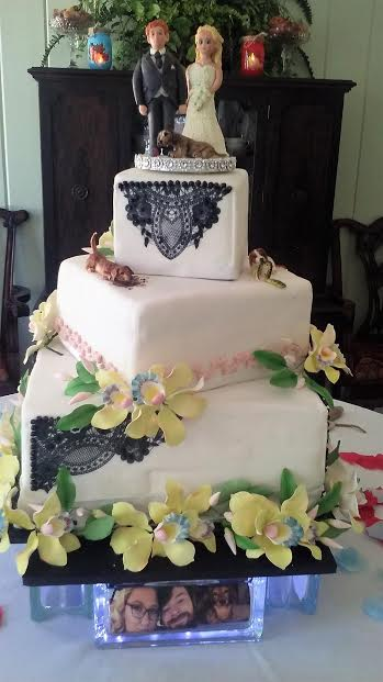 3 Tier Squared Wedding Cake with all Sugar Figurines & Flowers by Donna Mandell
