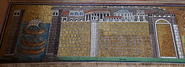 Mosaic in the Basilica of Sant'Apollinare Nuovo showing the military port of Classe, Ravenna