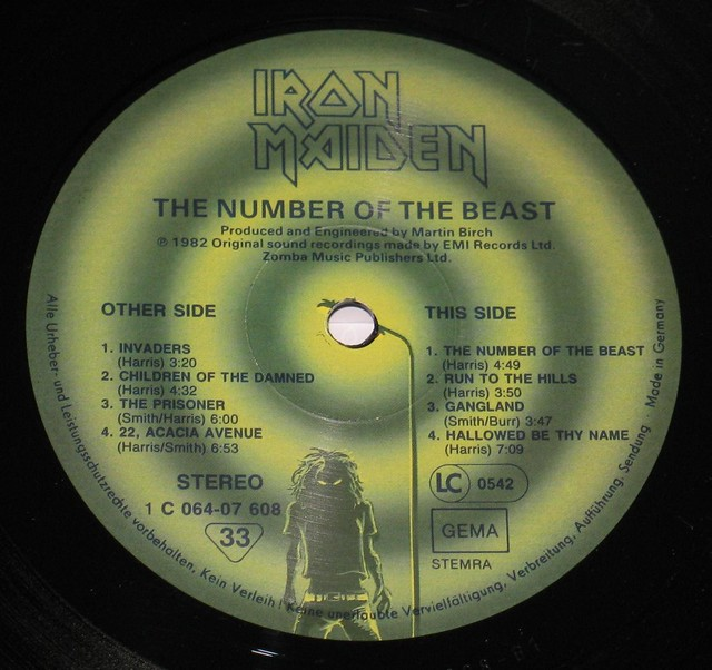 "IRON MAIDEN Number of the Beast Germany 12"" Vinyl LP"