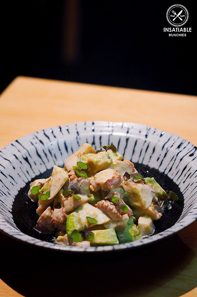 Sydney Food Blog Review of One Tea Lounge, Sydney CBD: Gyokuro smoked octopus with avocado