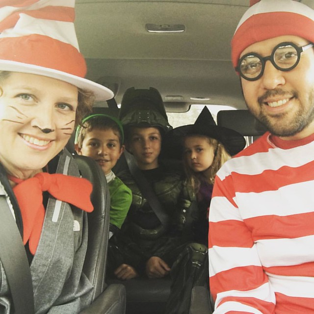Happy Halloween from the Bostinelos family .. In the car on our way to a Halloween party!