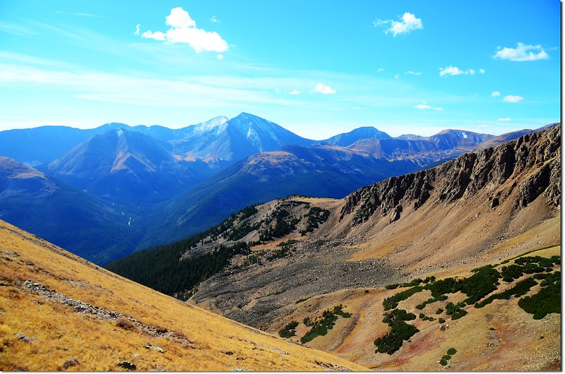 Looking south onto Grays & Torreys Peak from the slopes of Bard Peak
