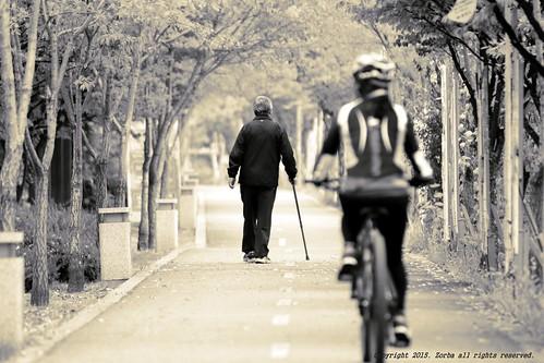 Picture of biker and walker