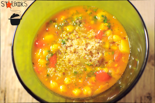 moroccan vegetable soup with green harissa and couscous