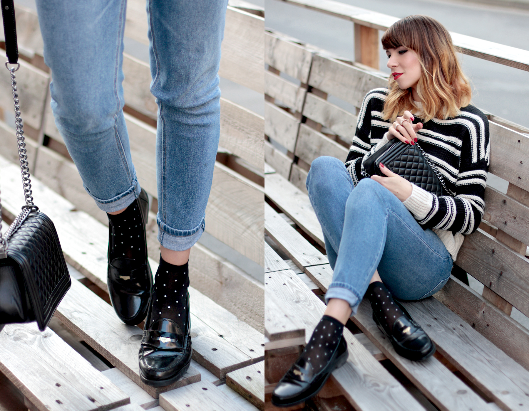 gant penny loafers h&m striped knit breton bretagne parisian style chanel le boy bag tailor swift style cute girl ricarda schernus fashionblogger cats & dogs blog5