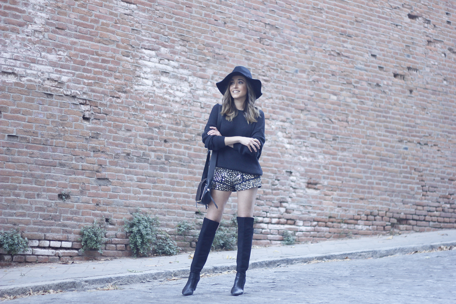 embroidered shorts black hat over the knee boots black sweater pull and bear purse coach outfit26