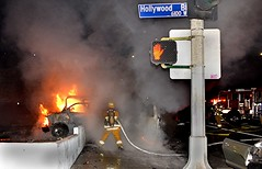 LAFD Responds to Double Fatal Fiery Crash in Hollywood