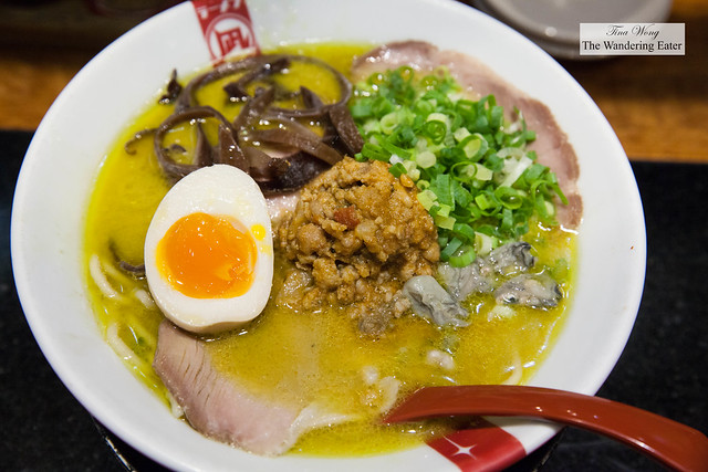 The night's special of oysters and pork shoulder ramen