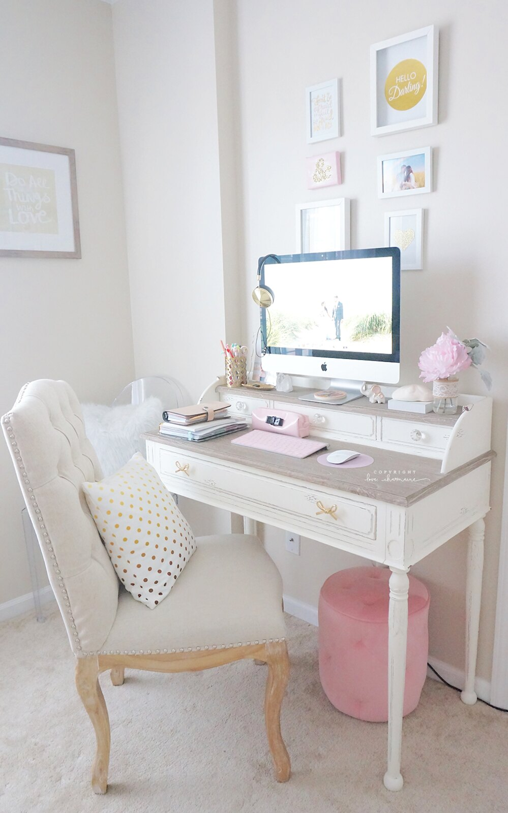 updated desk tour shabby chic. Black Bedroom Furniture Sets. Home Design Ideas
