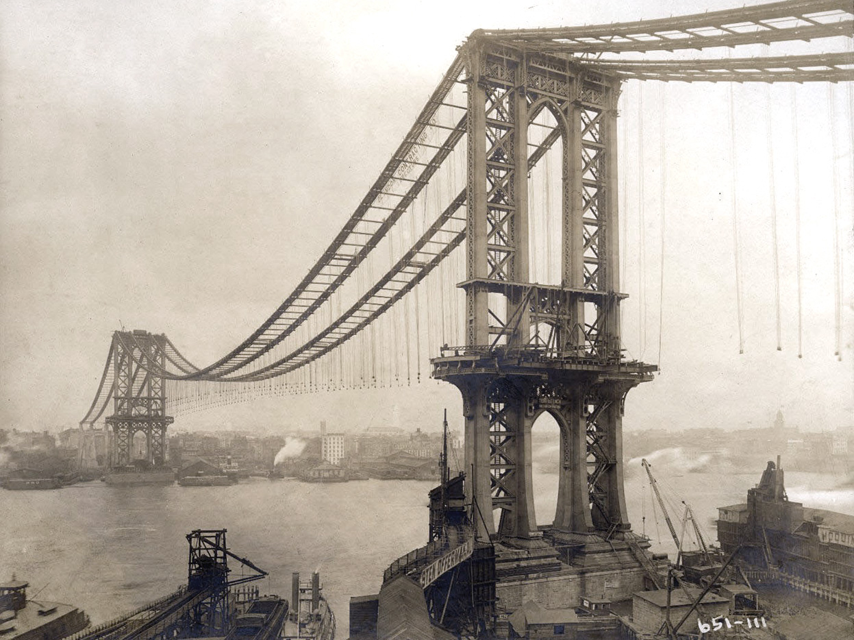 Manhattan Bridge, Under Construction: Historical Photograph by Eugene de Salignac, 1909