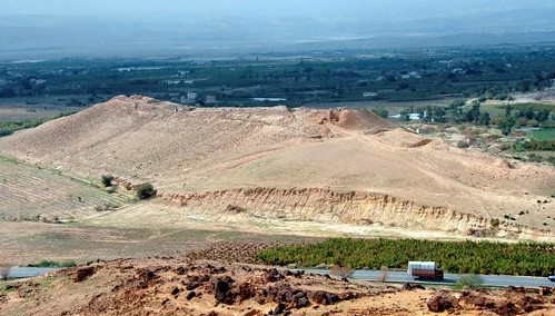 View of Tall el-Hammam. The mound is the most prominent feature on the landscape for miles around. Courtesy Tall el-Hammam Excavation Project