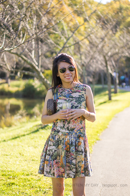 wildflower floral dress, gold jewelry, tweed clutch