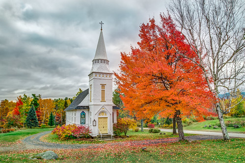 autumn trees red orange fall church canon landscape pond newengland newhampshire chapel nh foliage episcopal stmatthews sugarhill 2015 canonef24105mmf4lisusm canon6d davetrono