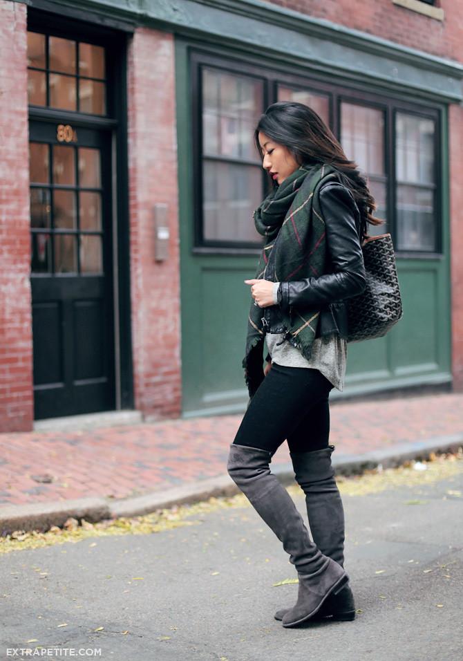 stuart weitzman lowland boots plaid scarf