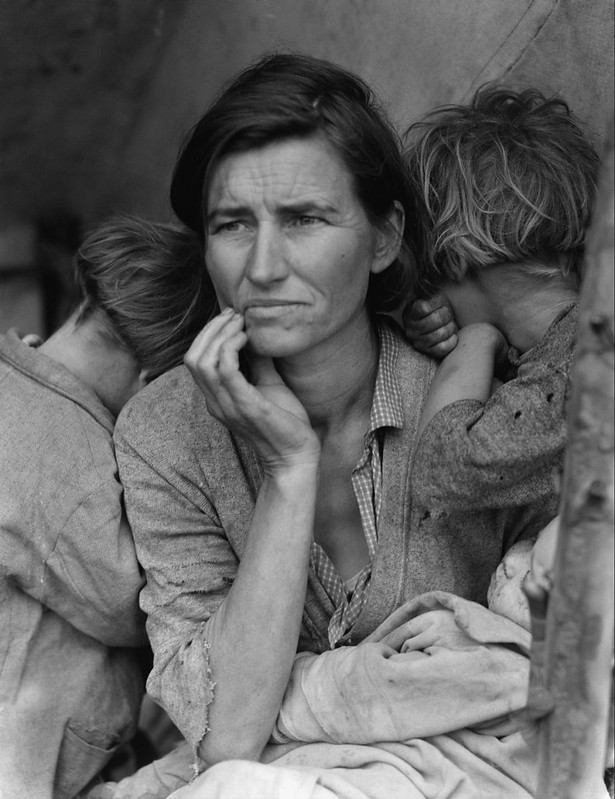 """Migrant Mother"" by Dorothea Lange, an iconic image of the Great Depression"