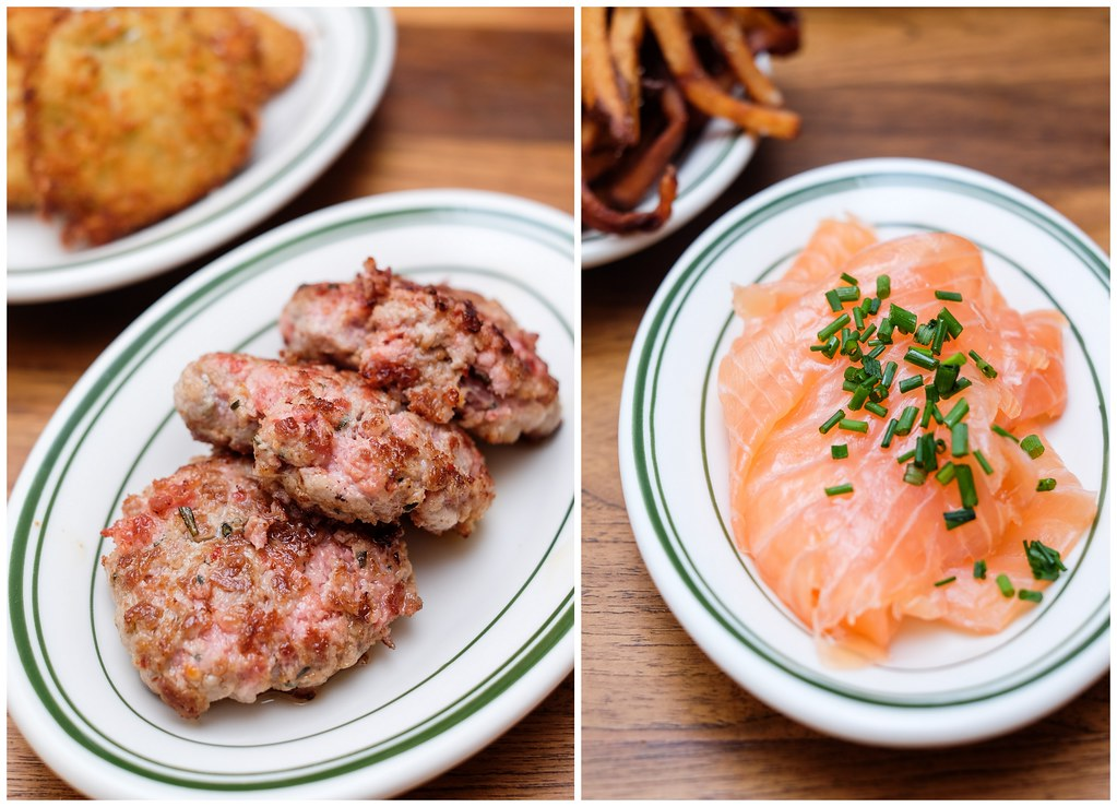 clinton street bakery: Rosemary Pork Sausage & House-cured Salmon