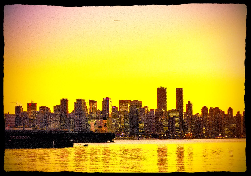 Vancouver city skyline at dawn