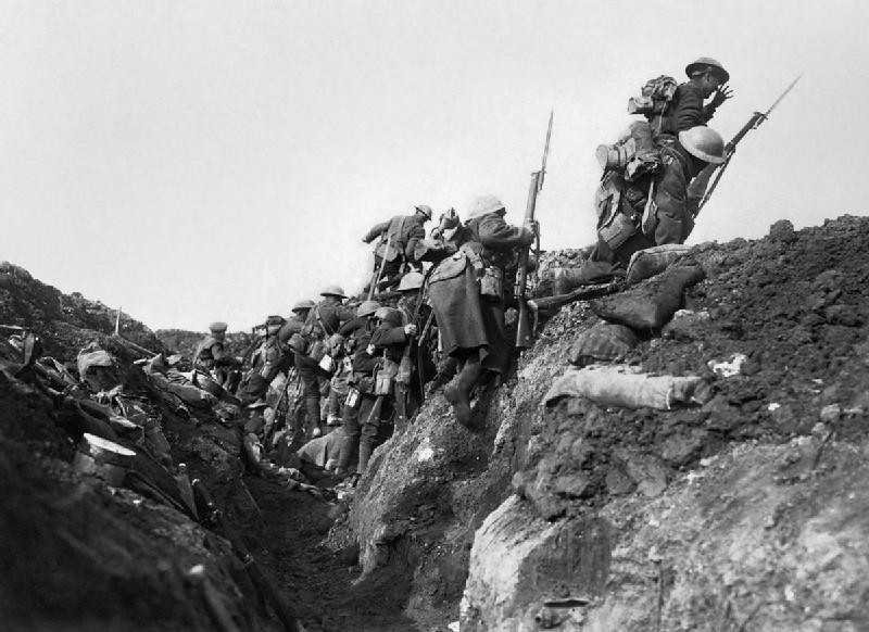 Troops 'going over the top' at the start of the Battle of the Somme in 1916
