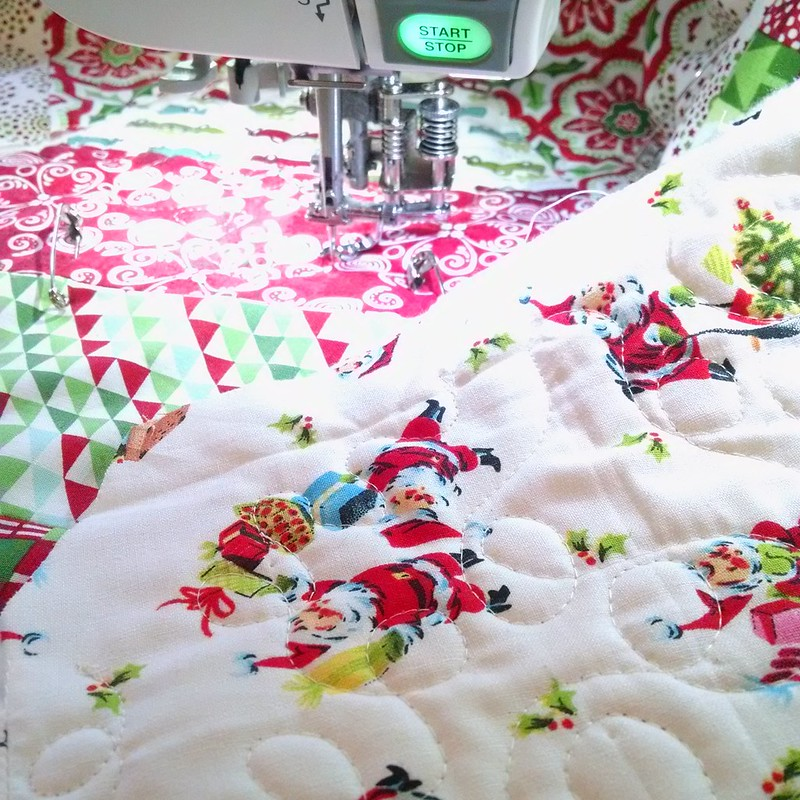 Quilting today! I'm using everyone's favorite @joann_stores Santa's for the backing 🎅🎄😄 #hollyjollytreeskirt #christmasismyfavorite #aurifilthread