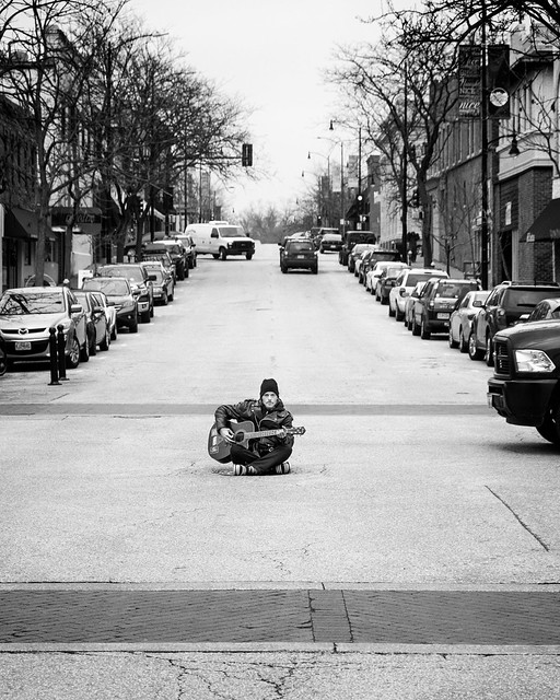 Playing in traffic - Armand 2 bw