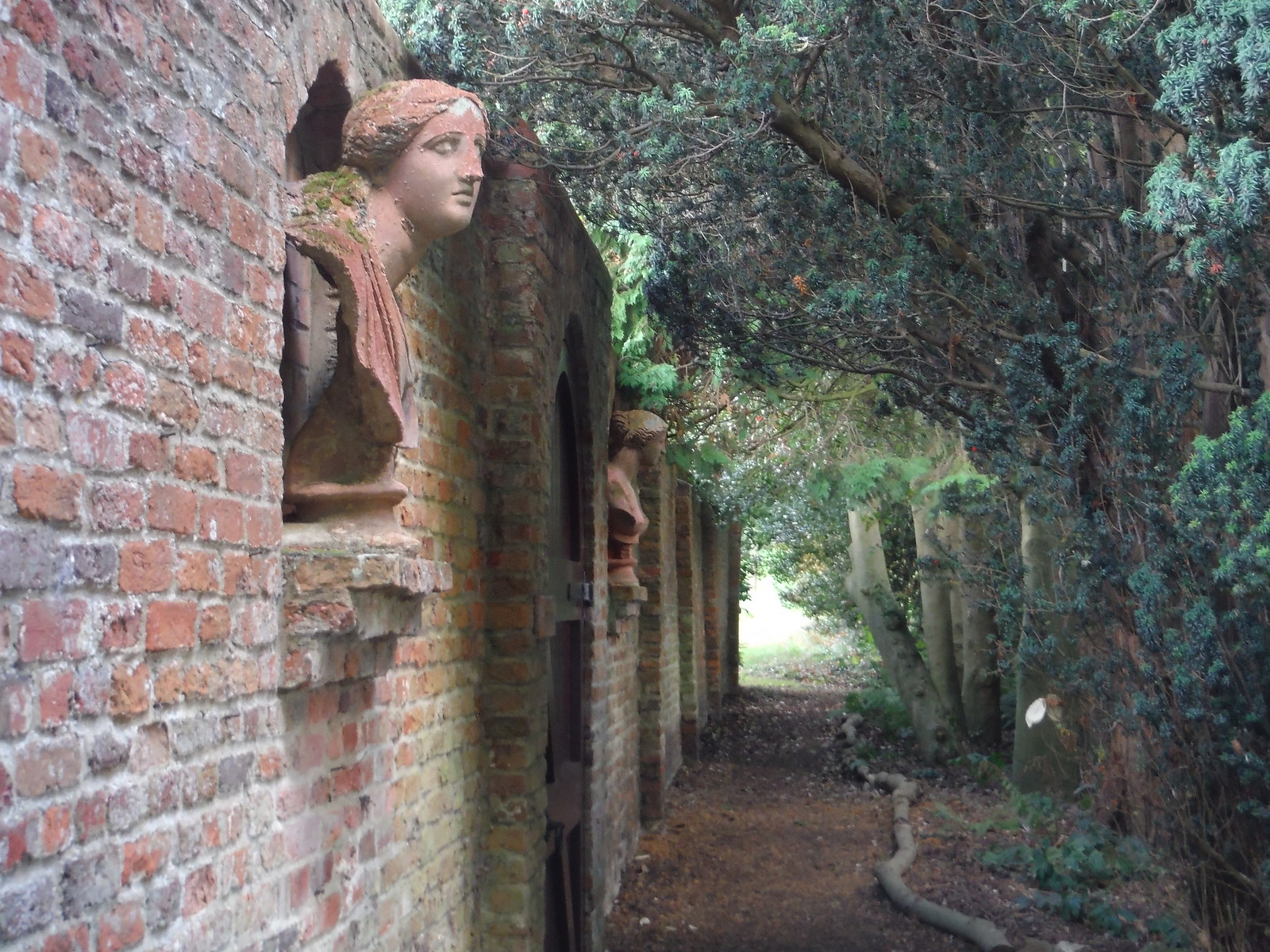 Busts on Wall along Path by Walled Garden, Lilies, Weedon SWC Walk 194 Aylesbury Vale Parkway to Aylesbury