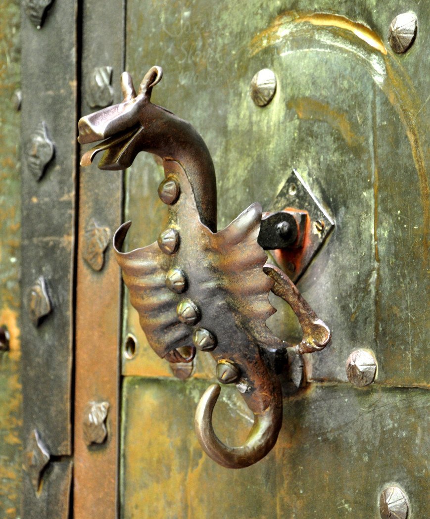 Door knocker at the Orava Castle, Slovakia. Credit Janos Korom
